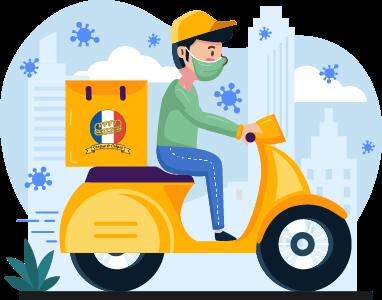 Lieferservice Fahrer mit Mundschutz auf Scooter